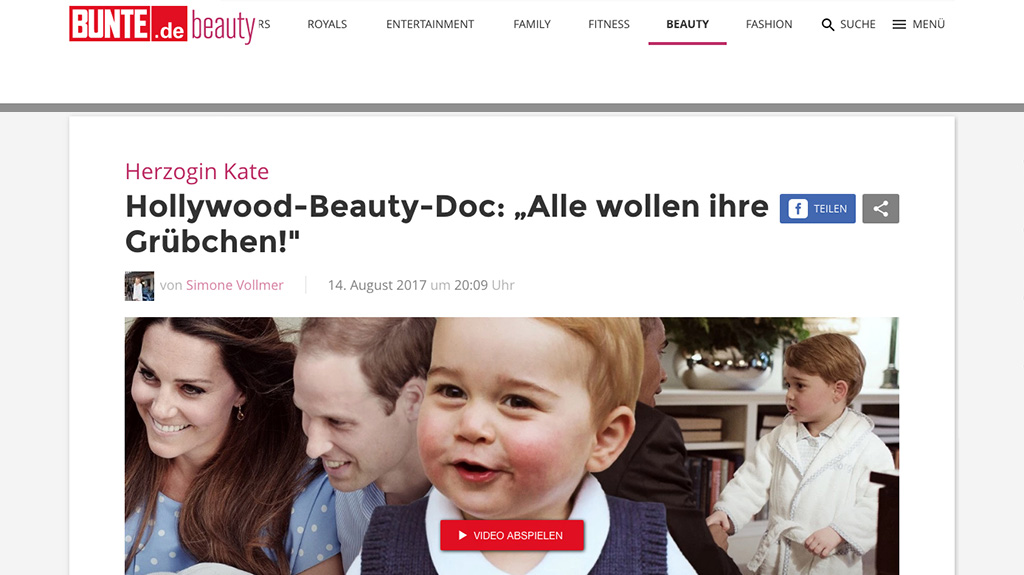 """Article: Duchess Kate: Hollywood Beauty-Doc: """"Everyone wants their dimples!"""""""
