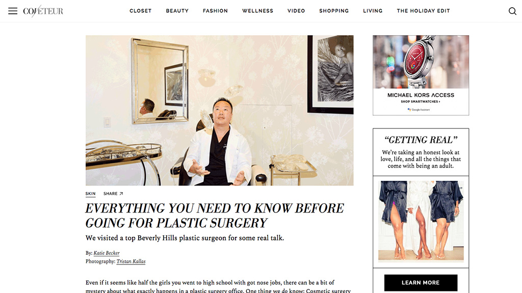 Article: Coveteur –   Everything You Need to Know Before Going for Plastic Surgery