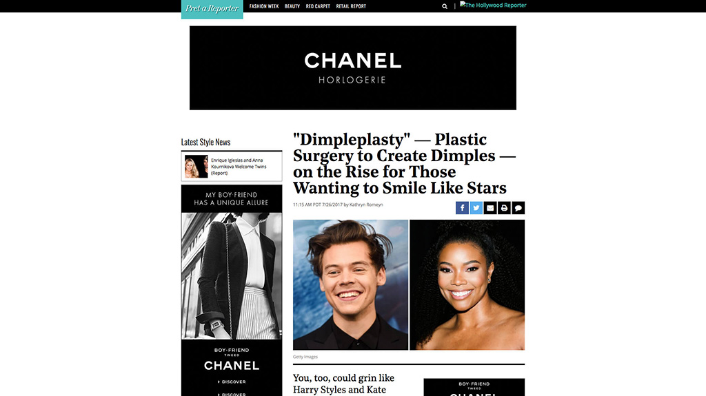 Article: The Hollywood Reporter – Dimpleplasty – Plastic Surgery To Create Dimples – On The Rise For Those Wanting To Smile Like Stars