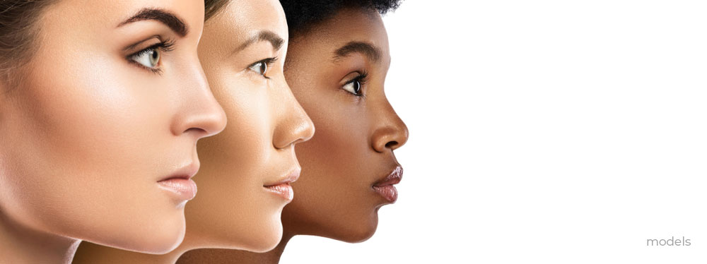 Women faces in profile