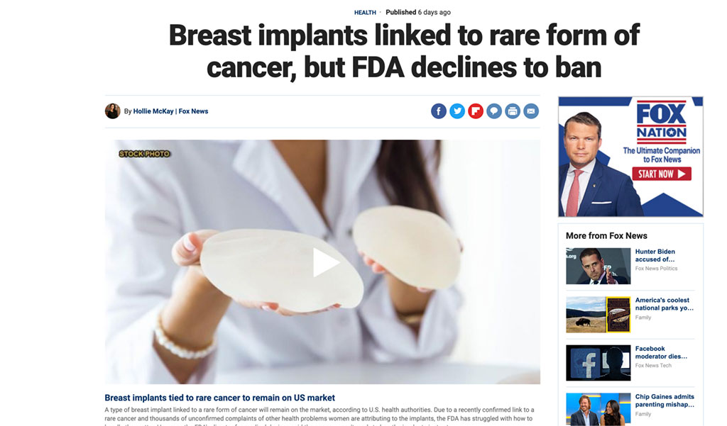Article: Breast implants linked to rare form of cancer, but FDA declines to ban