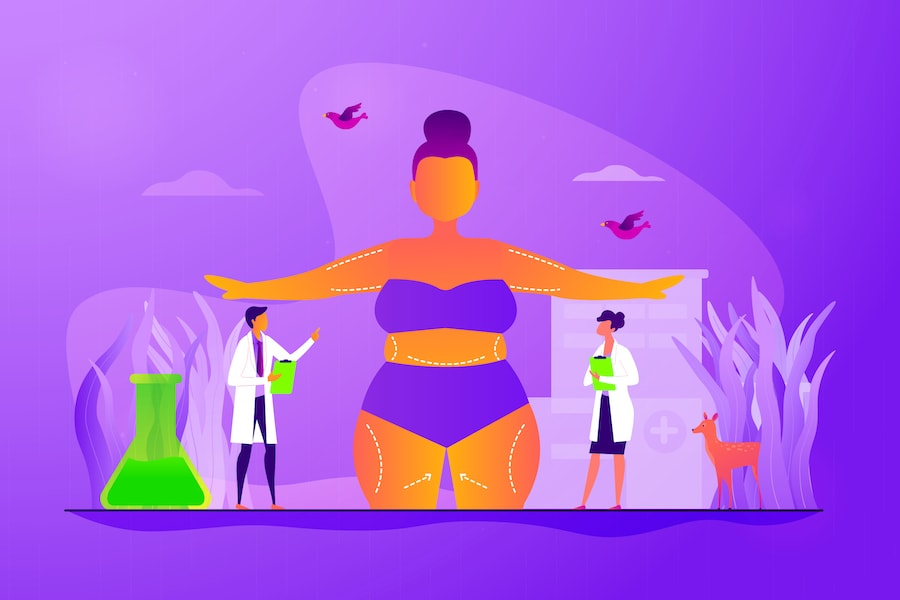 Cartoon illustration of doctors performing body contouring.