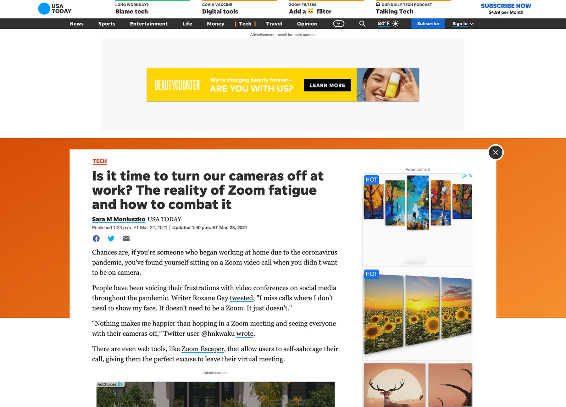 Article: Is it time to turn our cameras off at work? The reality of Zoom fatigue and how to combat it