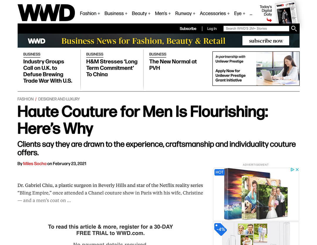 Article: Haute Couture for Men Is Flourishing: Here's Why